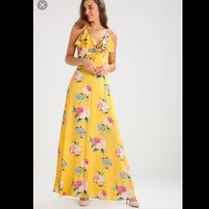 New Look Ruffle maxi dress floral yellow